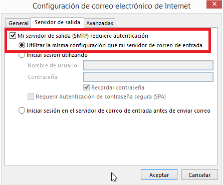 Configuración Outlook 2013