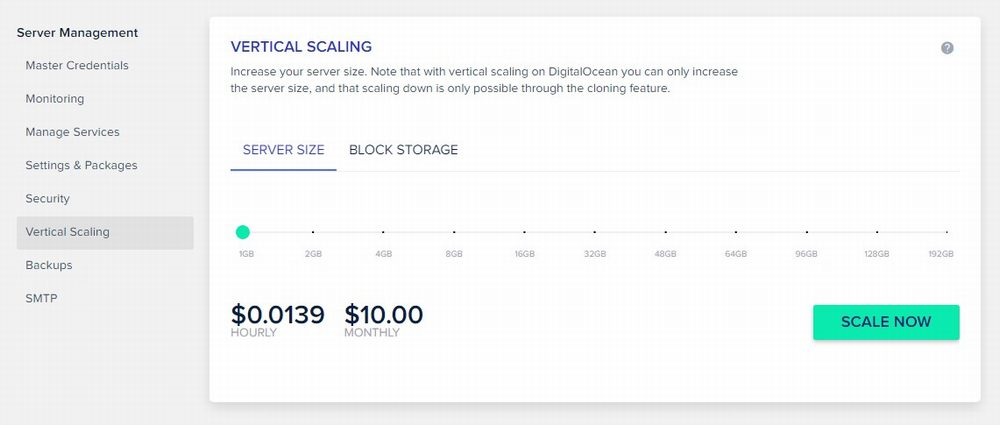 Cloudways Hosting - vertical scaling