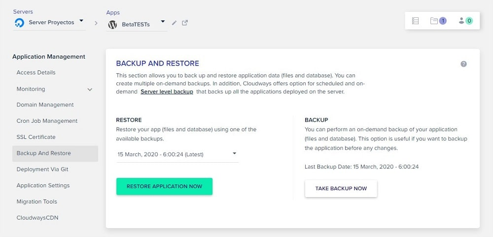 Cloudways hosting backup and restore