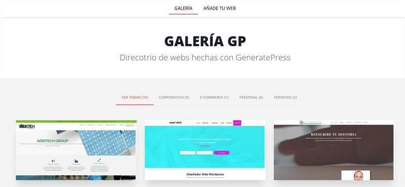 Directorio de webs hechas con GeneratePress