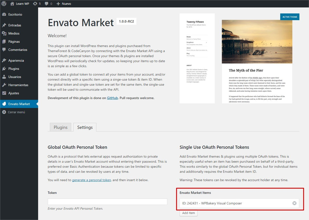 Envato Market plugin add item