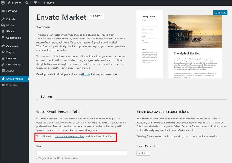 Envato Market plugin configuration