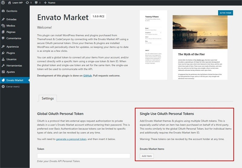 Envato Single Use OAuth Personal Tokens