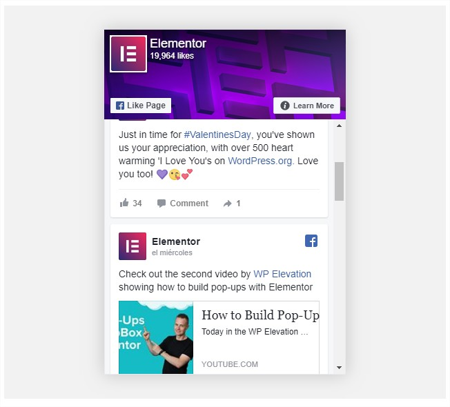 Facebook Widgets elementor pro
