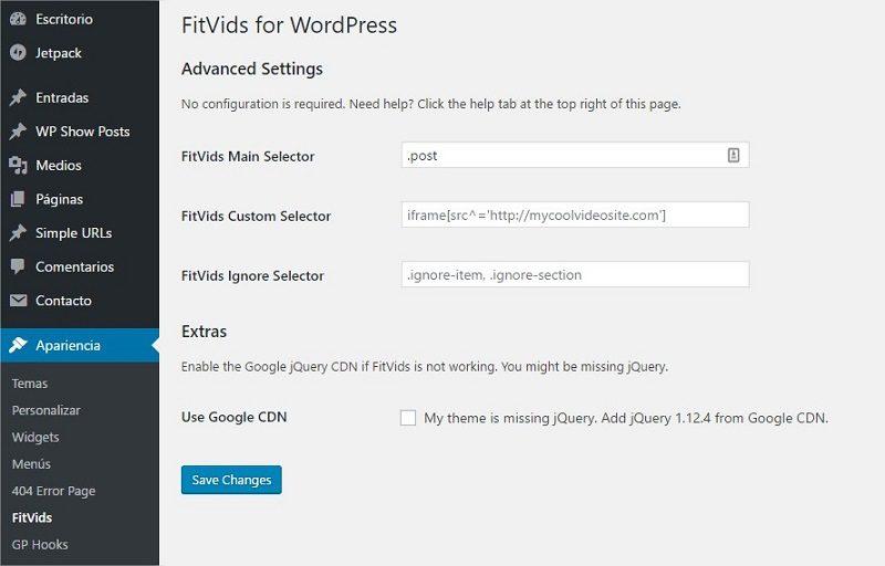 Plugin FitVids WordPress