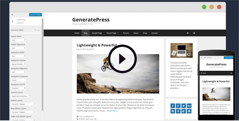 GeneratePress - Lightweight- Responsive WordPress Theme