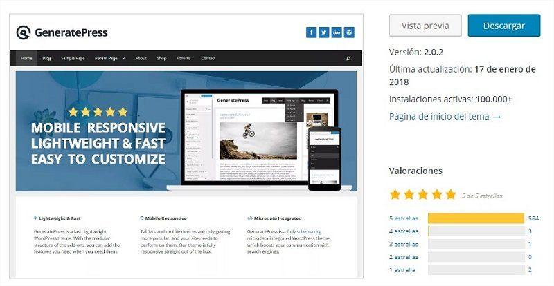 GeneratePress optinion de los usuarios