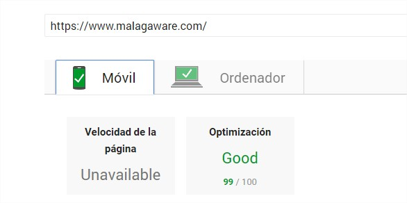 PageSpeed Insights movil test