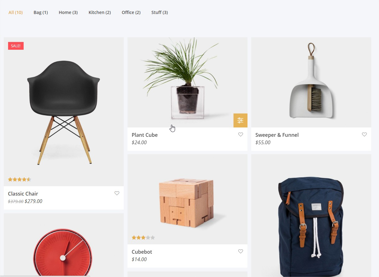 The Grid Catalog de productos filtrable
