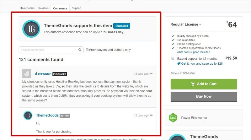ThemeForest support comments