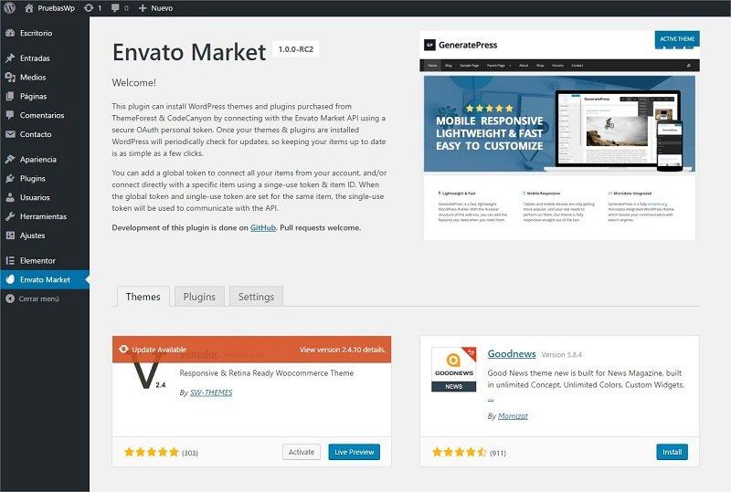 actualizar temas WordPress con Envato Market Plugin