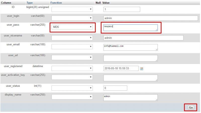 cambiar contrasena administrador wordpress phpmyadmin