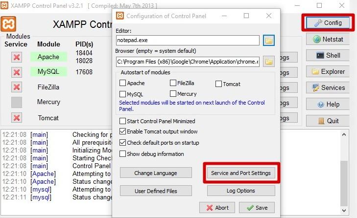 cambiar puertos de XAMP
