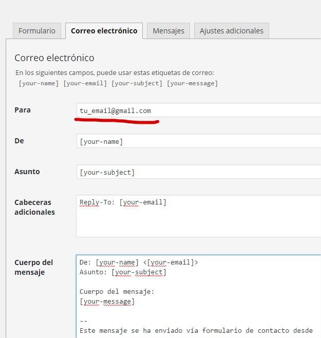 configuracion basica contact form 7