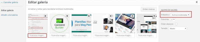 configurar galeria en wordpress