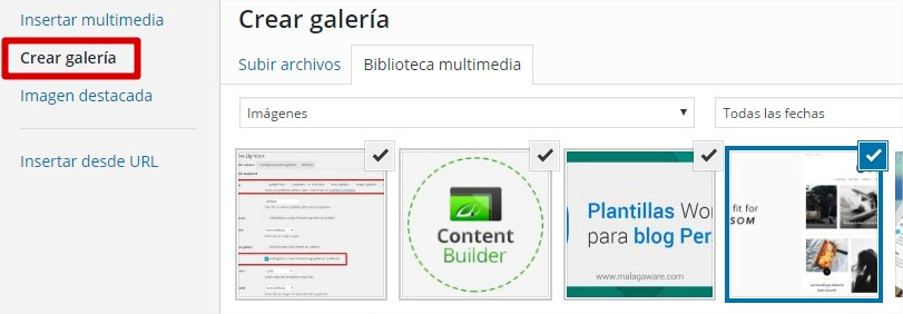 crear galeria en wordpress