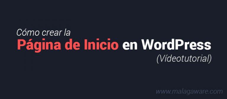 crear la pagina de inicio en wordpress