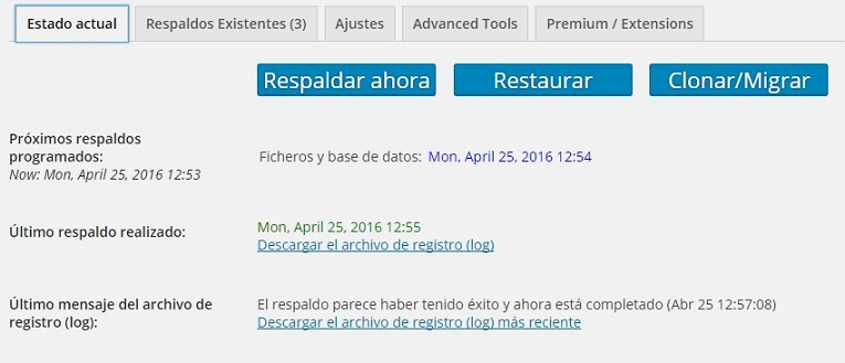 Crear un Backup de WordPress