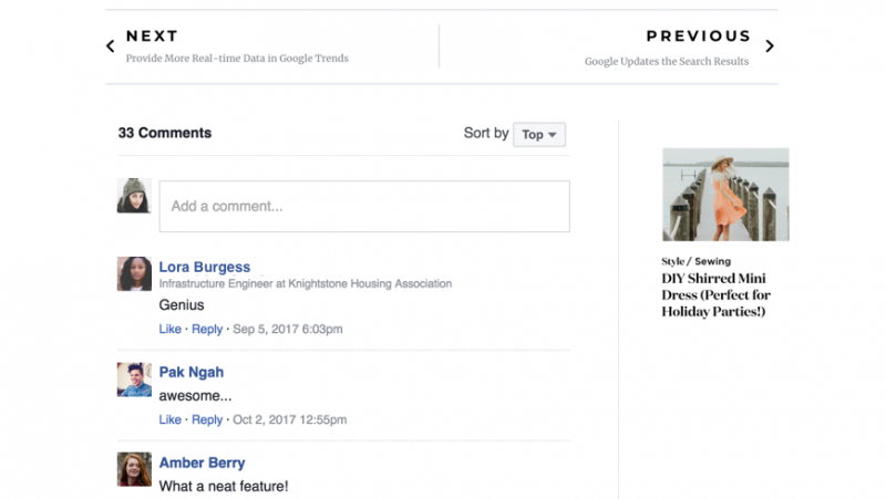 Widget Facebook Comments