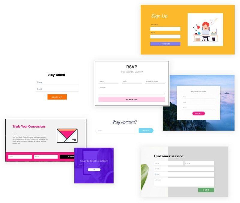 Ejemplos de formularios de captación de leeds hechos con Elementor Pro