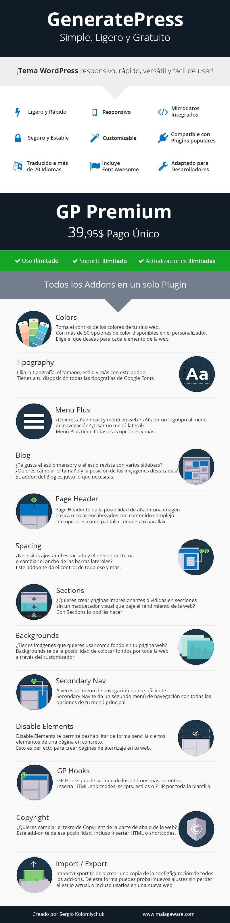 Infography GeneratePress #WordPress Theme