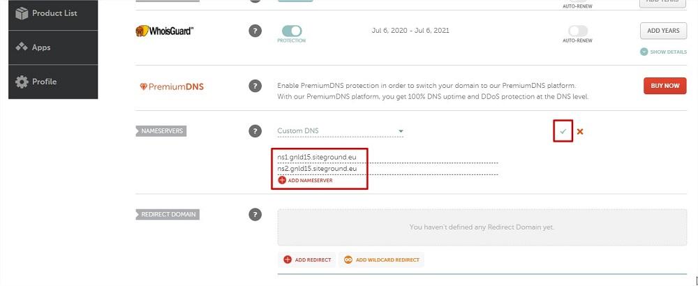 Guardar custom DNS Namecheap