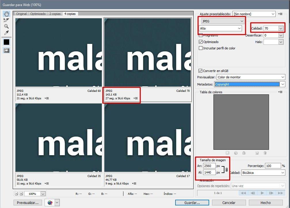 optimizar imágenes para web con Photoshop