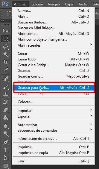 guardar para web Photoshop