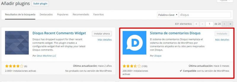 instalar plugin disqus