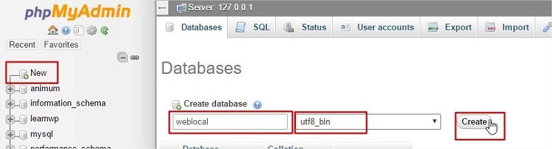 localhost crear una base de datos en localhost