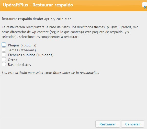 restaurar backup wordpress
